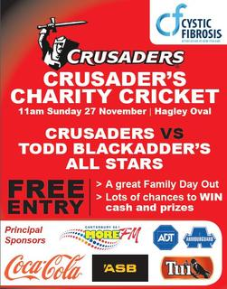 We're sponsoring the Crusaders Charity Cricket match again!